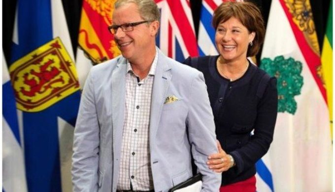 Brad Wall and Christy Clark in Charlottetown